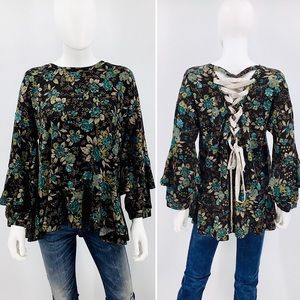 ENTRO-Size S-Velvet Tie Floral Tunic Bell Sleeve